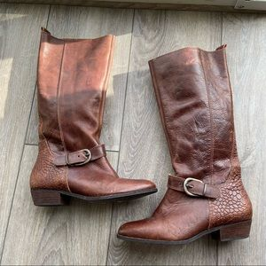 Topshop Western Leather Croc Knee Height Boots